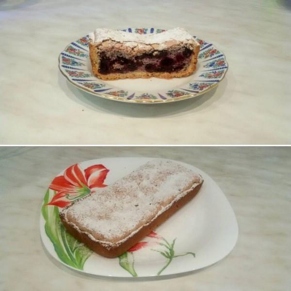 Кунжутный пирог с черникой