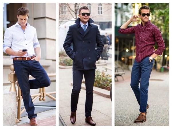 С чем носить темно синие брюки?