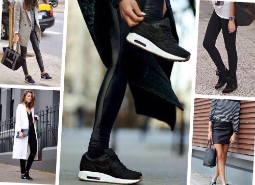 С чем носить черные кроссовки?